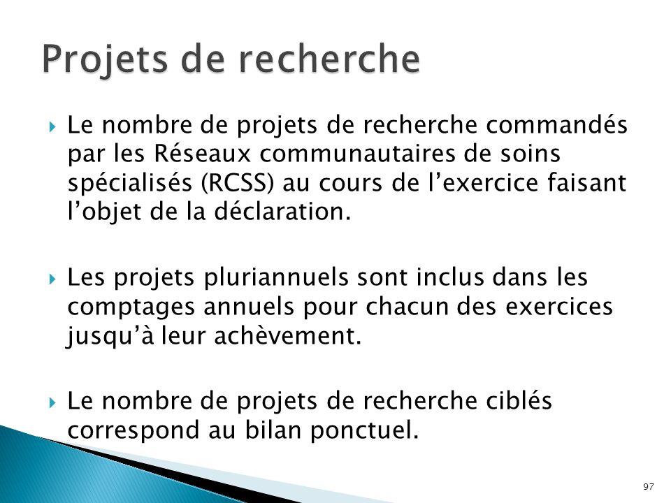  Le nombre de projets de recherche commandés par les Réseaux communautaires de soins spécialisés (RCSS) au cours de l'exercice faisant l'objet de la