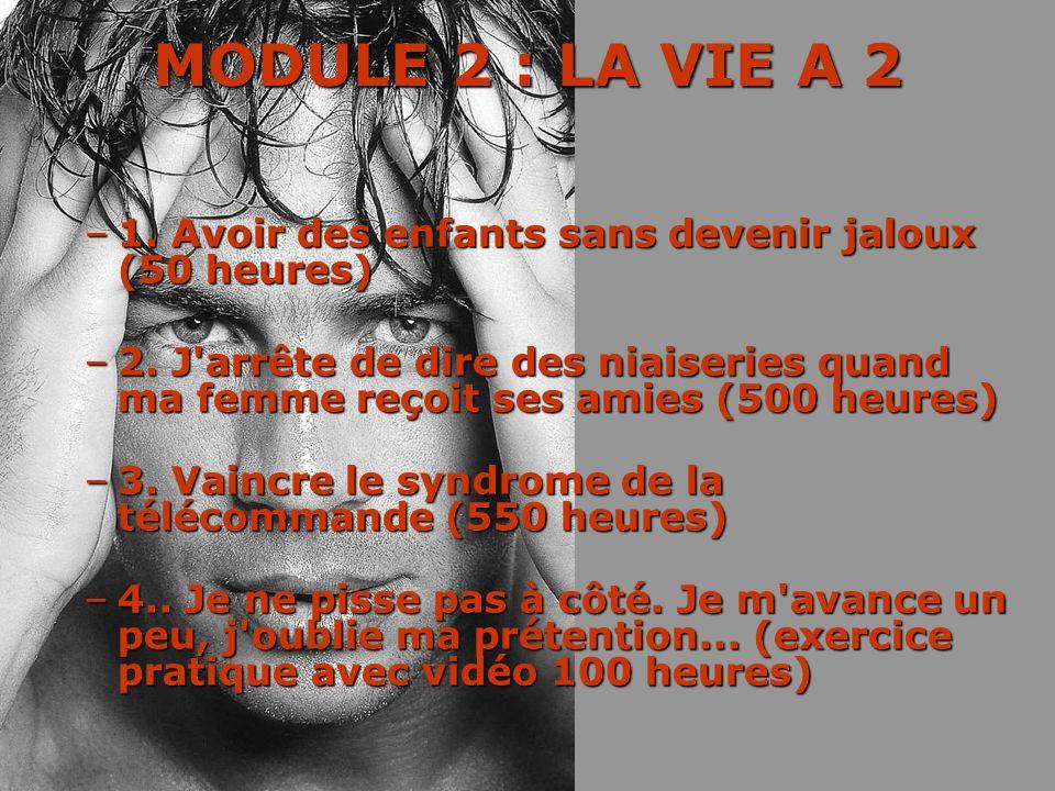 MODULE 2 : LA VIE A 2 –1–1–1–1. Avoir des enfants sans devenir jaloux (50 heures) –2–2–2–2. J'arrête de dire des niaiseries quand ma femme reçoit ses