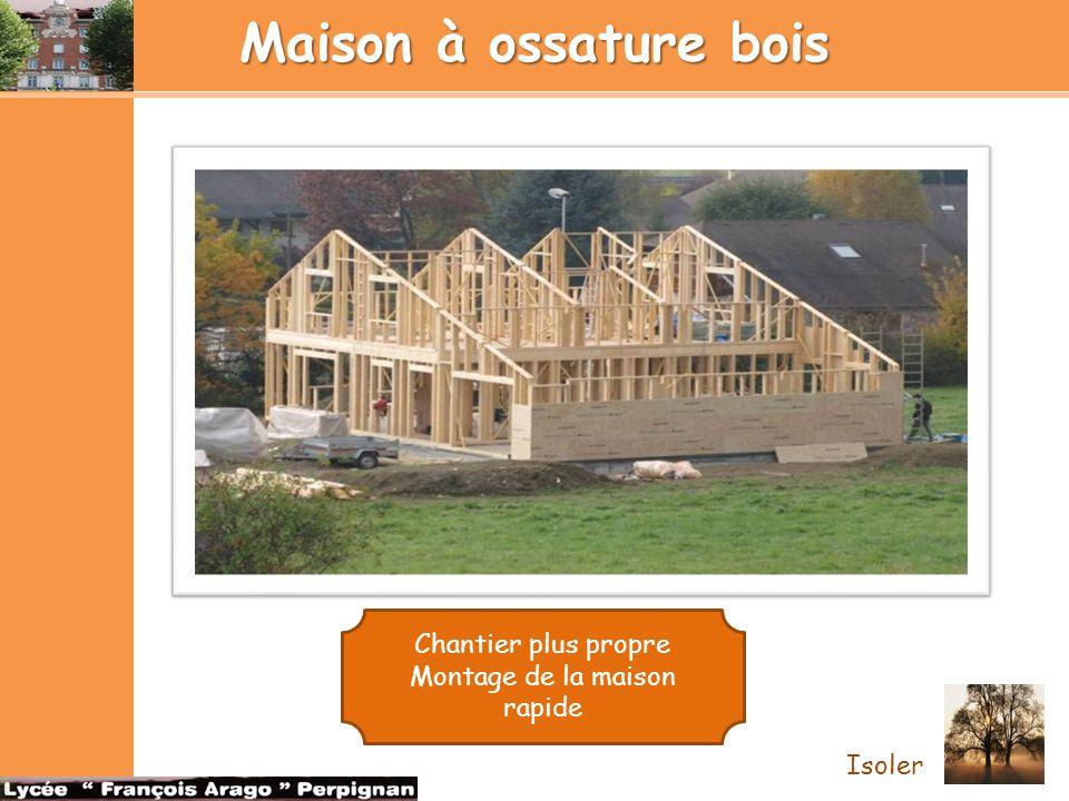 Maison à ossature bois Isoler Chantier plus propre Montage de la maison rapide