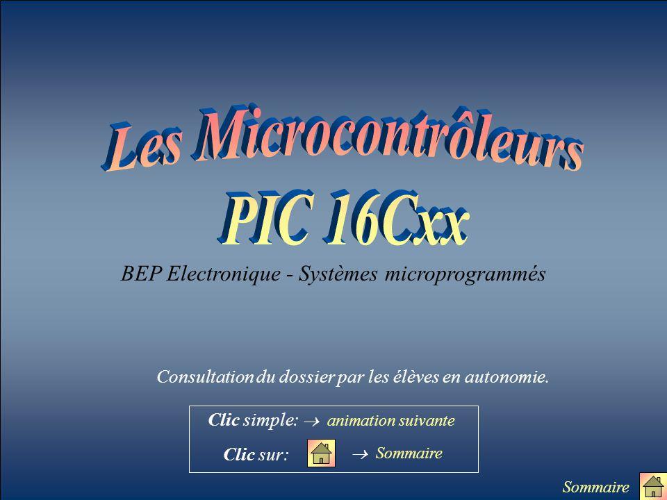 BEP Electronique - Systèmes microprogrammés  Sommaire Clic simple:  animation suivante Clic sur: Sommaire Consultation du dossier par les élèves en