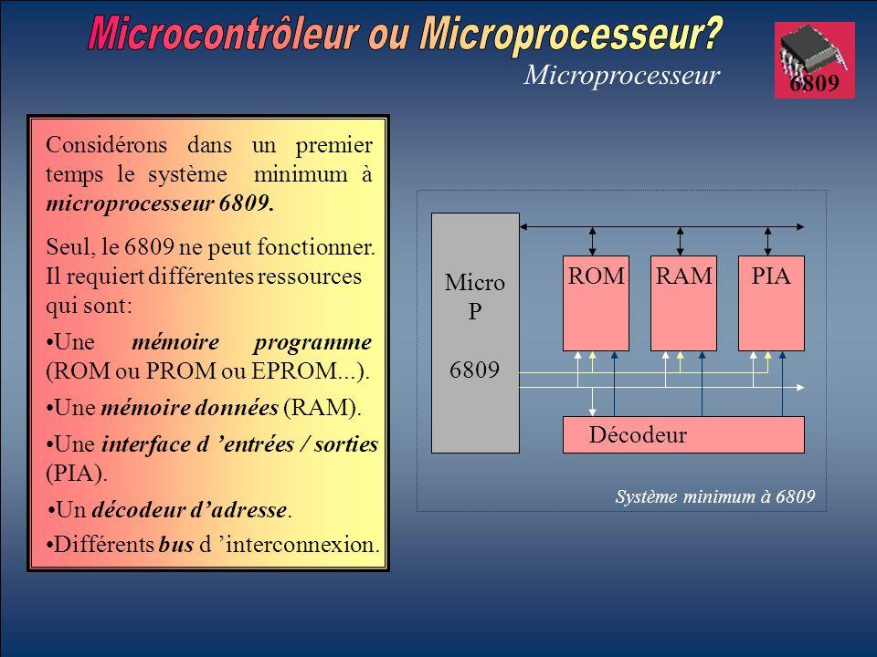 6809 Microprocesseur Considérons dans un premier temps le système minimum à microprocesseur 6809. Seul, le 6809 ne peut fonctionner. Il requiert diffé