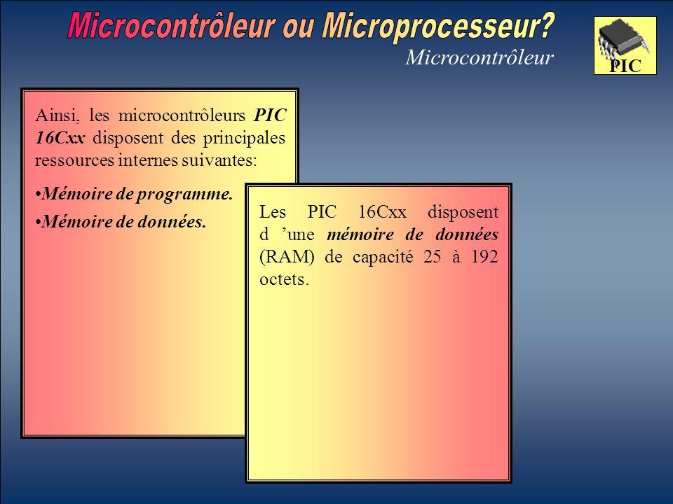 Microcontrôleur PIC Mémoire de données. Les PIC 16Cxx disposent d 'une mémoire de données (RAM) de capacité 25 à 192 octets. Ainsi, les microcontrôleu