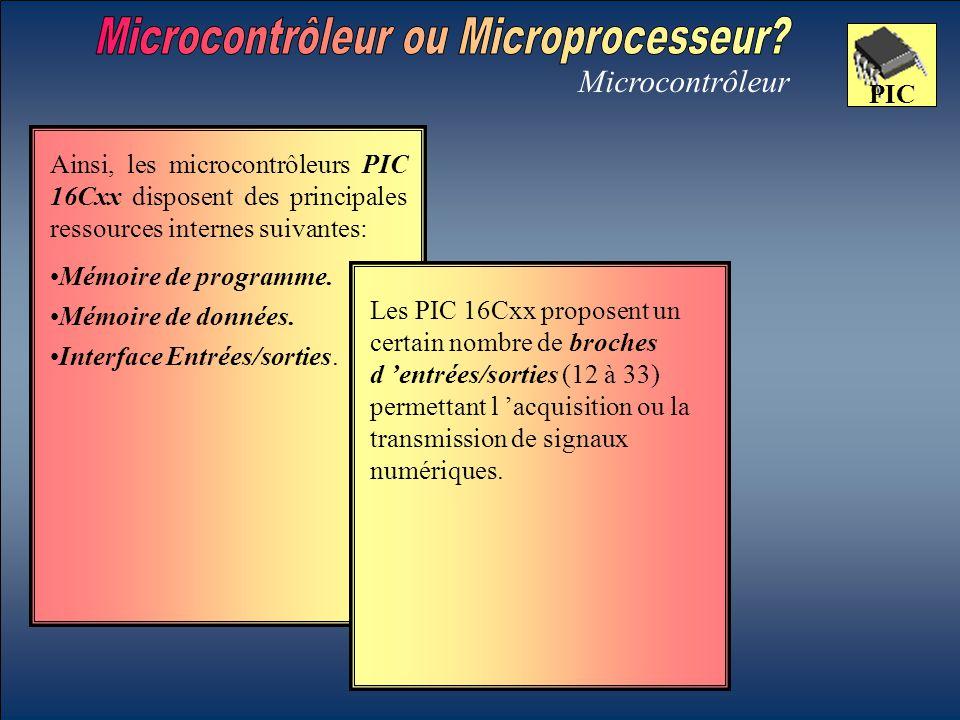Microcontrôleur PIC Mémoire de données. Les PIC 16Cxx proposent un certain nombre de broches d 'entrées/sorties (12 à 33) permettant l 'acquisition ou