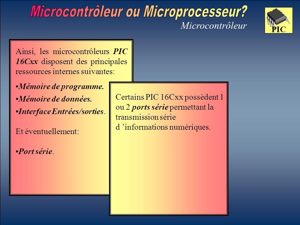 Microcontrôleur PIC Mémoire de données. Certains PIC 16Cxx possèdent 1 ou 2 ports série permettant la transmission série d 'informations numériques. A
