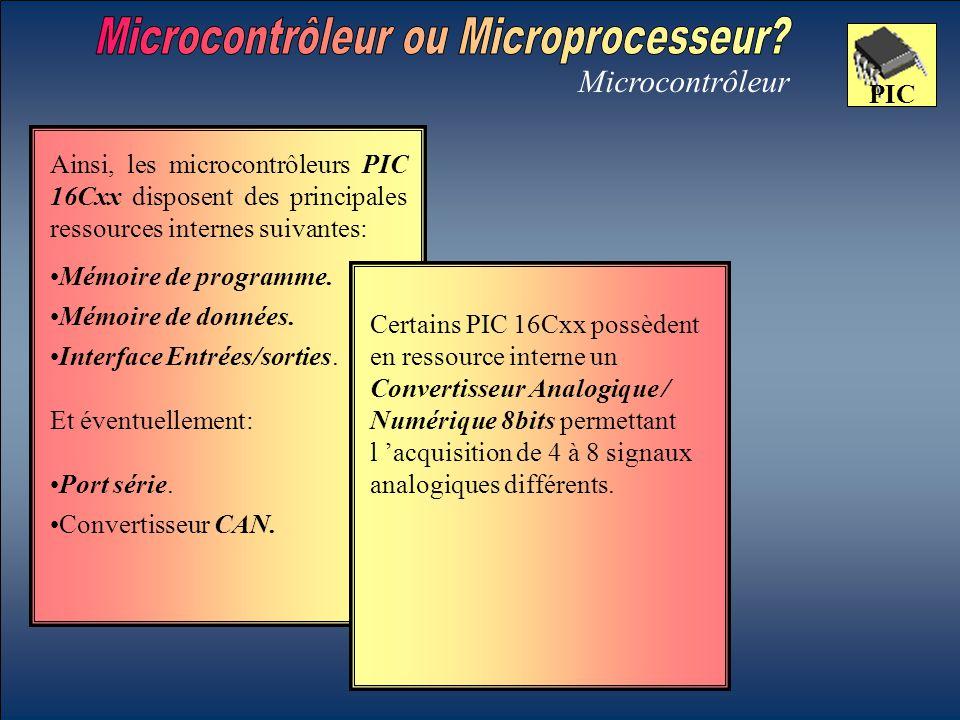 Microcontrôleur PIC Mémoire de données. Certains PIC 16Cxx possèdent en ressource interne un Convertisseur Analogique / Numérique 8bits permettant l '