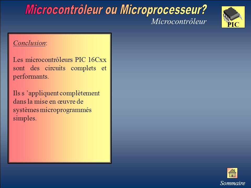Microcontrôleur PIC Conclusion: Les microcontrôleurs PIC 16Cxx sont des circuits complets et performants. Ils s 'appliquent complètement dans la mise
