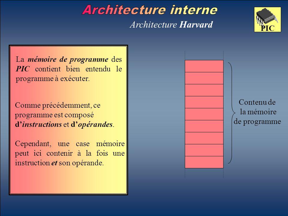 Architecture Harvard Contenu de la mémoire de programme PIC Comme précédemment, ce programme est composé d'instructions et d'opérandes. Cependant, une