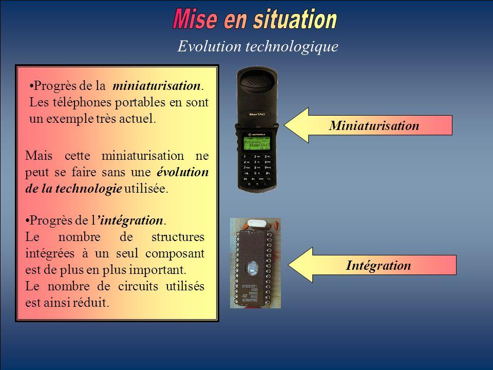 Miniaturisation Intégration Progrès de la miniaturisation. Les téléphones portables en sont un exemple très actuel. Progrès de l'intégration. Le nombr