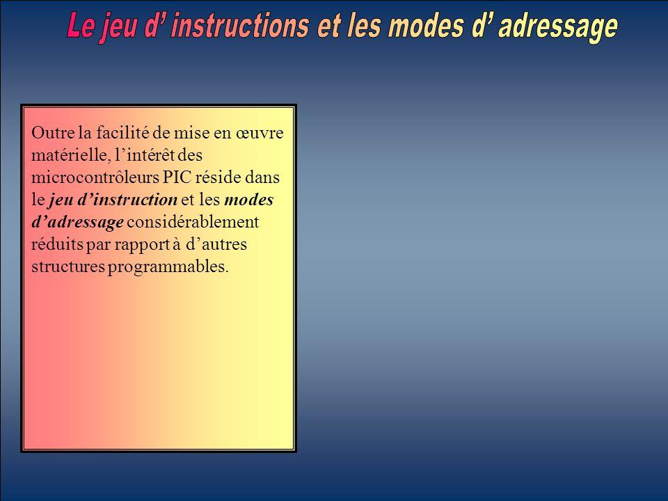 Outre la facilité de mise en œuvre matérielle, l'intérêt des microcontrôleurs PIC réside dans le jeu d'instruction et les modes d'adressage considérab