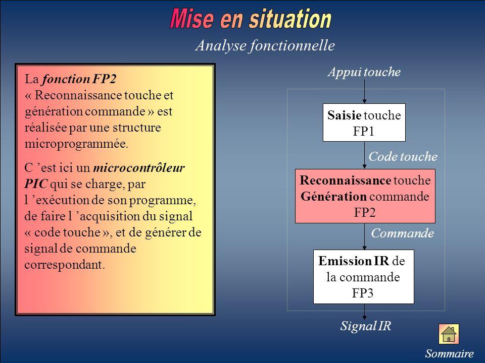 La fonction FP2 « Reconnaissance touche et génération commande » est réalisée par une structure microprogrammée. Analyse fonctionnelle Emission IR de