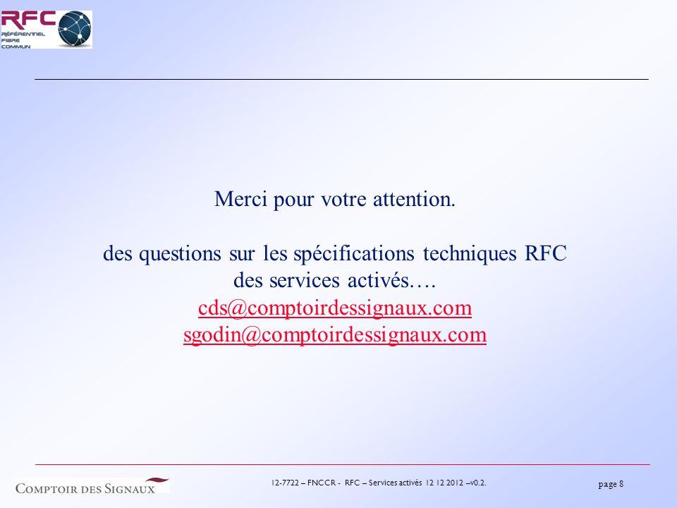page 8 12-7722 – FNCCR - RFC – Services activés 12 12 2012 –v0.2.