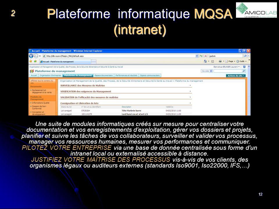 Plateforme informatique MQSA (intranet) 12 2 Une suite de modules informatiques créés sur mesure pour centraliser votre documentation et vos enregistr