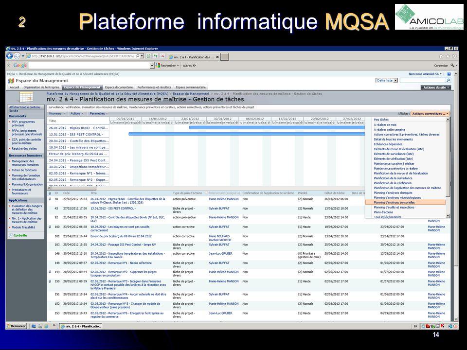 Plateforme informatique MQSA 2 14