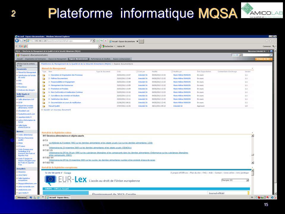 Plateforme informatique MQSA 2 15