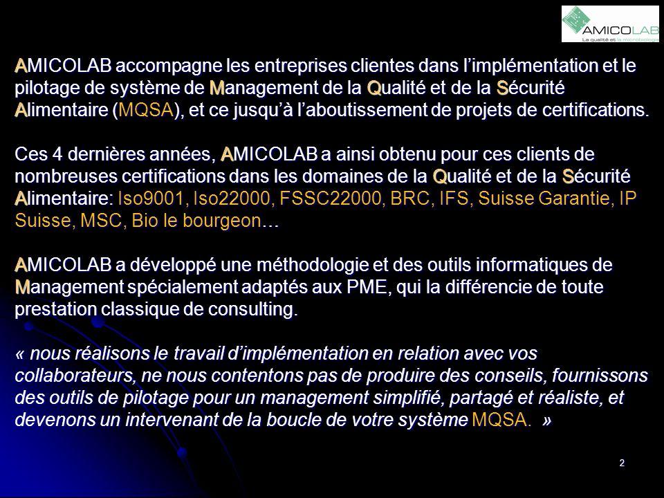 AMICOLAB accompagne les entreprises clientes dans l'implémentation et le pilotage de système de Management de la Qualité et de la Sécurité Alimentaire