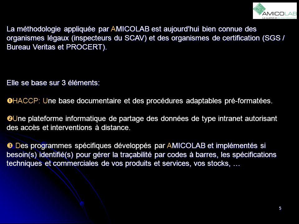 5 La méthodologie appliquée par AMICOLAB est aujourd'hui bien connue des organismes légaux (inspecteurs du SCAV) et des organismes de certification (S