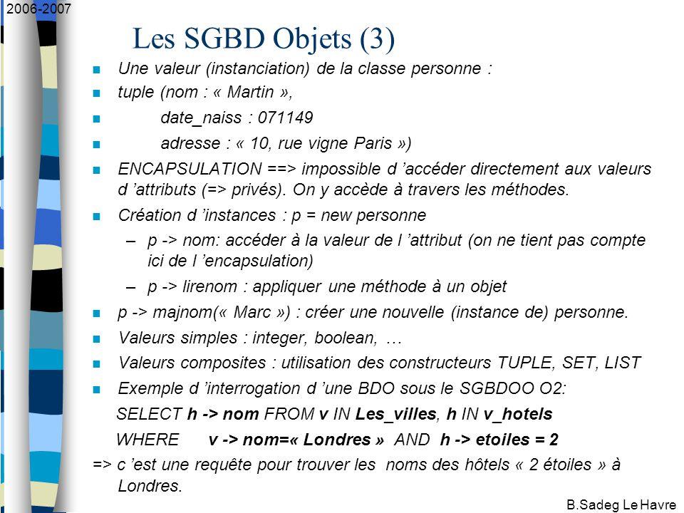 B.Sadeg Le Havre 2006-2007 Les SGBD Objets (3) Une valeur (instanciation) de la classe personne : tuple (nom : « Martin », date_naiss : 071149 adresse : « 10, rue vigne Paris ») ENCAPSULATION ==> impossible d 'accéder directement aux valeurs d 'attributs (=> privés).