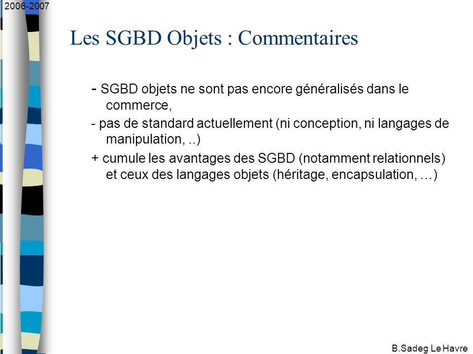 B.Sadeg Le Havre 2006-2007 Les SGBD Objets : Commentaires - SGBD objets ne sont pas encore généralisés dans le commerce, - pas de standard actuellement (ni conception, ni langages de manipulation,..) + cumule les avantages des SGBD (notamment relationnels) et ceux des langages objets (héritage, encapsulation, …)