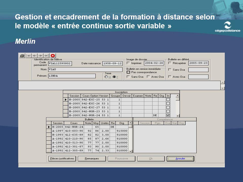 Gestion et encadrement de la formation à distance selon le modèle « entrée continue sortie variable » Merlin