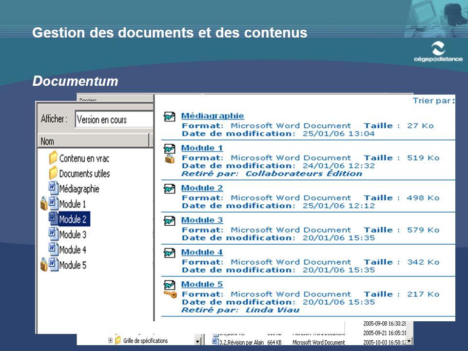 Gestion des documents et des contenus D ocumentum
