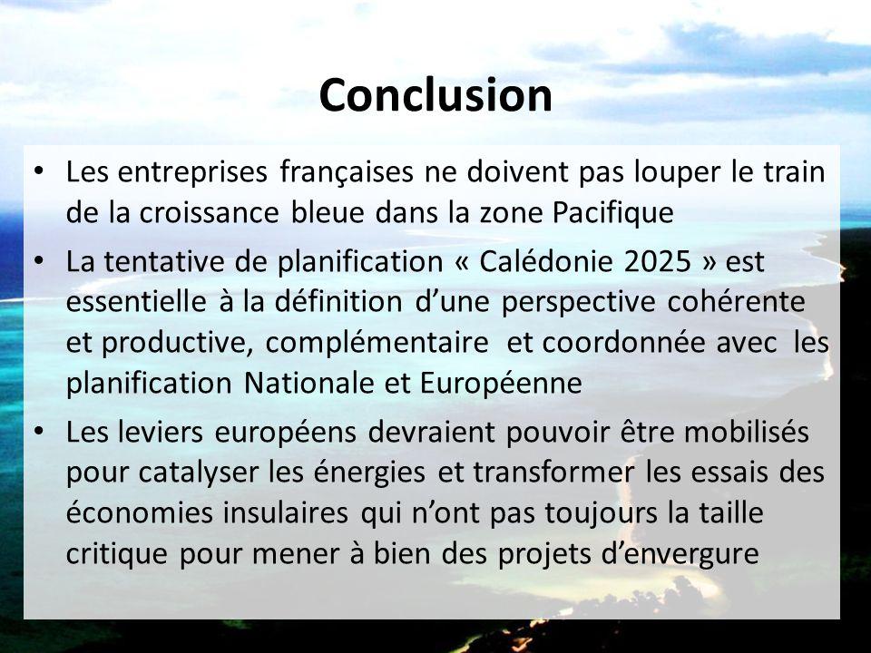 Conclusion Les entreprises françaises ne doivent pas louper le train de la croissance bleue dans la zone Pacifique La tentative de planification « Cal