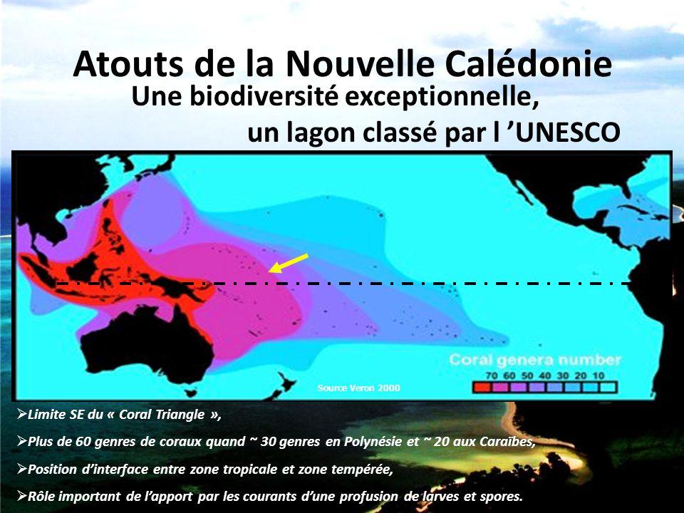 Atouts de la Nouvelle Calédonie  Limite SE du « Coral Triangle »,  Plus de 60 genres de coraux quand ~ 30 genres en Polynésie et ~ 20 aux Caraïbes,