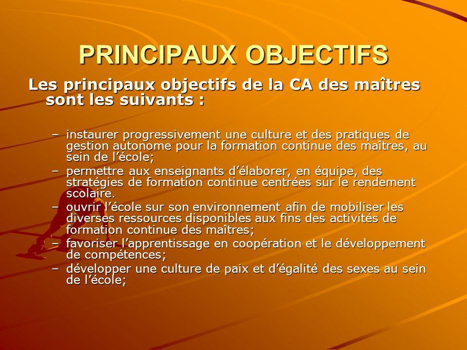 PRINCIPAUX OBJECTIFS Les principaux objectifs de la CA des maîtres sont les suivants : –instaurer progressivement une culture et des pratiques de gest