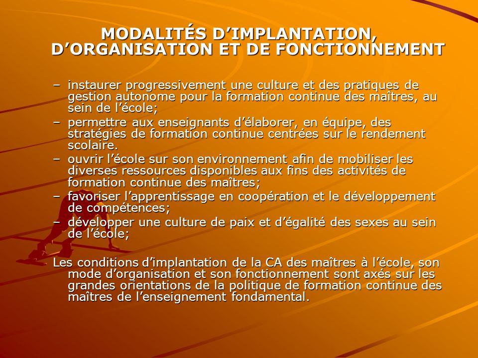 MODALITÉS D'IMPLANTATION, D'ORGANISATION ET DE FONCTIONNEMENT –instaurer progressivement une culture et des pratiques de gestion autonome pour la form