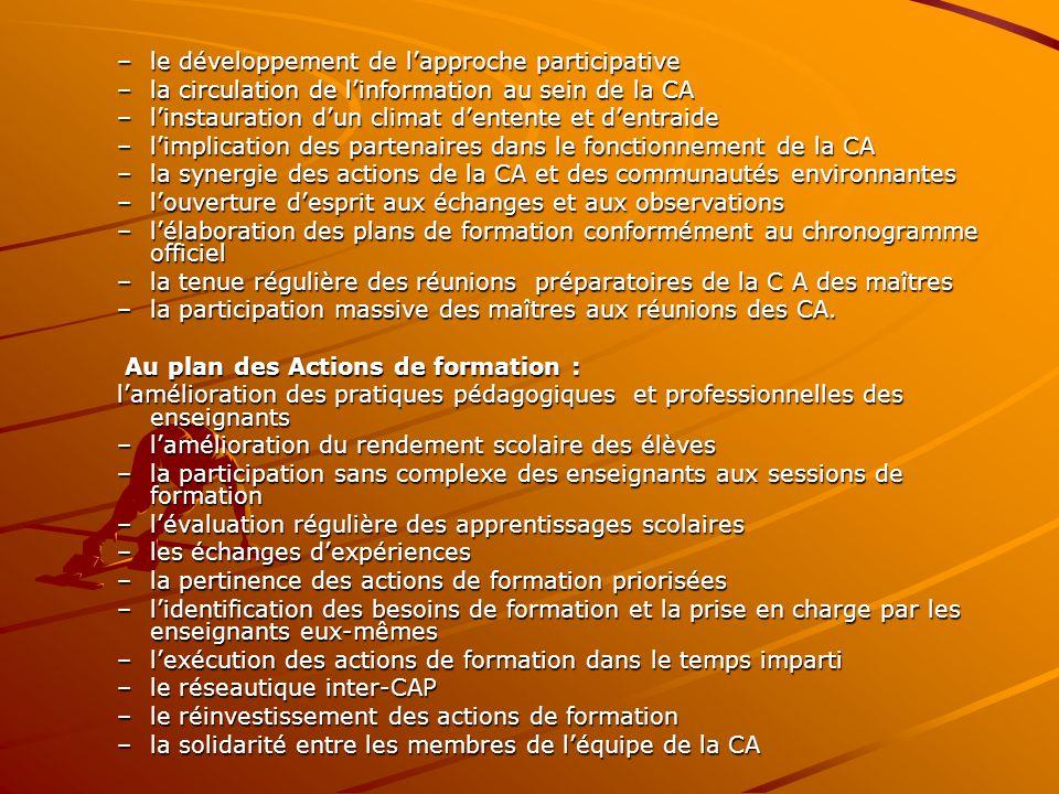–le développement de l'approche participative –la circulation de l'information au sein de la CA –l'instauration d'un climat d'entente et d'entraide –l'implication des partenaires dans le fonctionnement de la CA –la synergie des actions de la CA et des communautés environnantes –l'ouverture d'esprit aux échanges et aux observations –l'élaboration des plans de formation conformément au chronogramme officiel –la tenue régulière des réunions préparatoires de la C A des maîtres –la participation massive des maîtres aux réunions des CA.