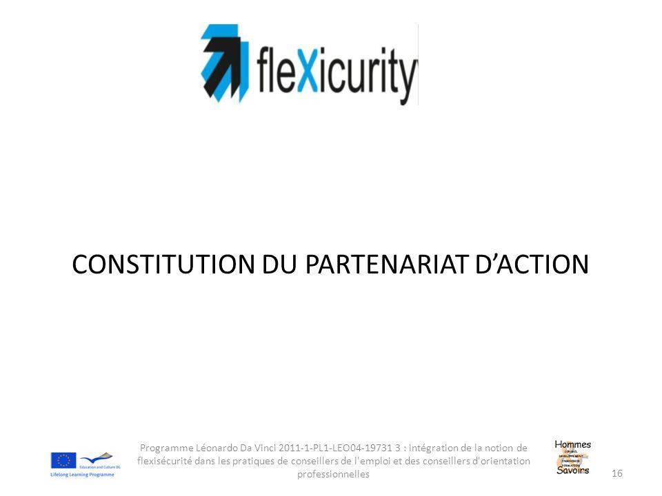 CONSTITUTION DU PARTENARIAT D'ACTION Programme Léonardo Da Vinci 2011-1-PL1-LEO04-19731 3 : intégration de la notion de flexisécurité dans les pratiqu