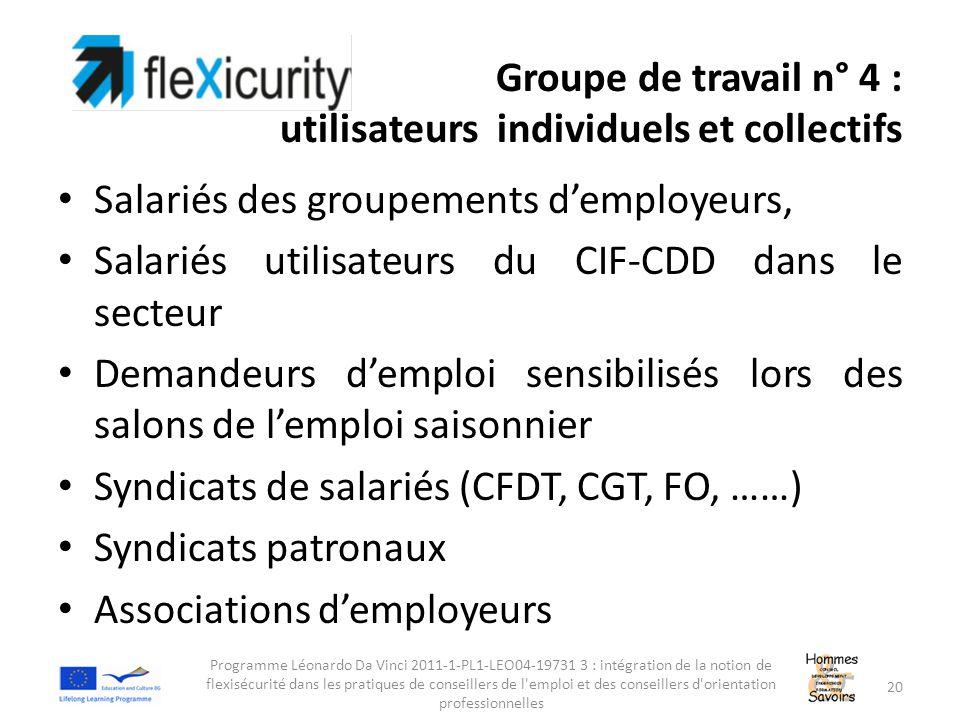 Groupe de travail n° 4 : utilisateurs individuels et collectifs Salariés des groupements d'employeurs, Salariés utilisateurs du CIF-CDD dans le secteu