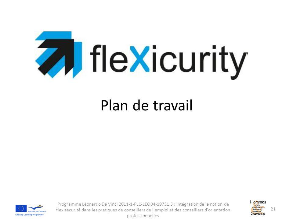 Plan de travail Programme Léonardo Da Vinci 2011-1-PL1-LEO04-19731 3 : intégration de la notion de flexisécurité dans les pratiques de conseillers de