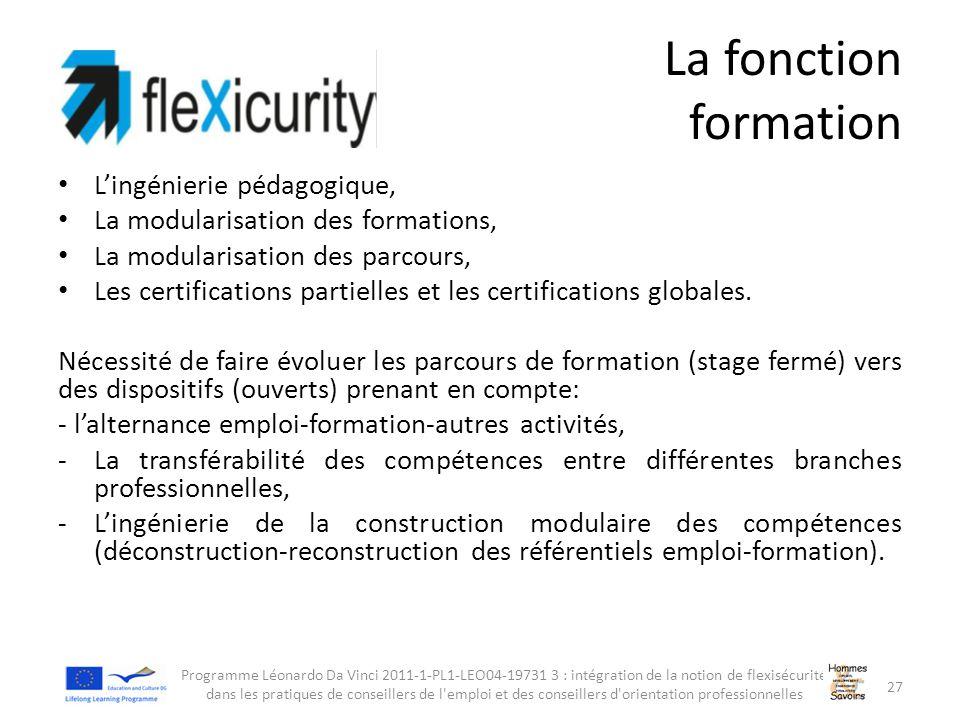 La fonction formation L'ingénierie pédagogique, La modularisation des formations, La modularisation des parcours, Les certifications partielles et les