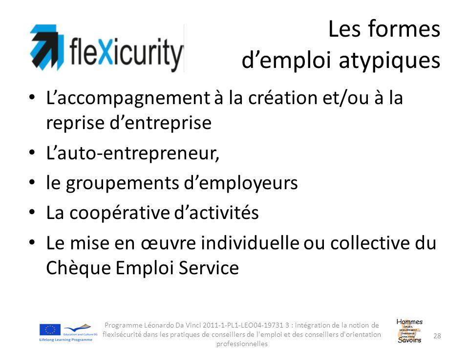 Les formes d'emploi atypiques L'accompagnement à la création et/ou à la reprise d'entreprise L'auto-entrepreneur, le groupements d'employeurs La coopé