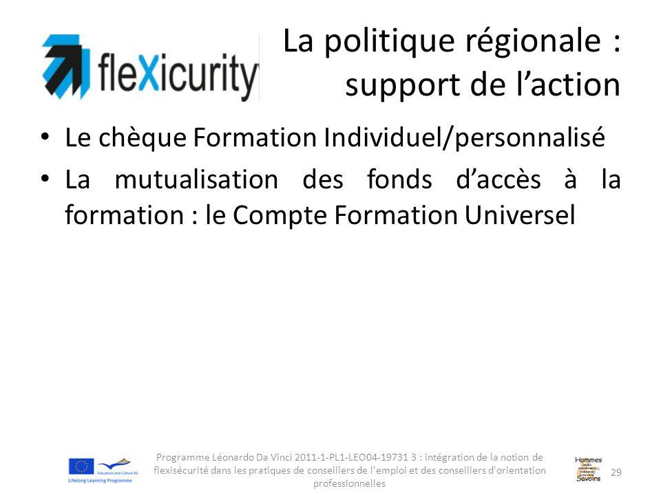 La politique régionale : support de l'action Le chèque Formation Individuel/personnalisé La mutualisation des fonds d'accès à la formation : le Compte