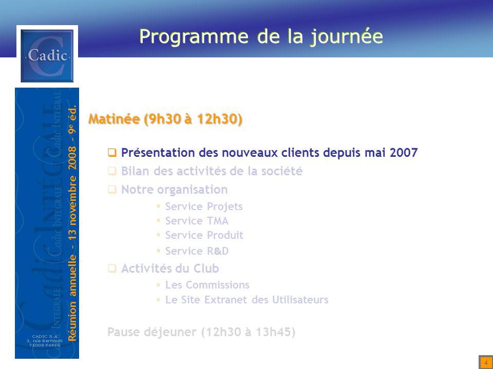 Réunion annuelle – 13 novembre 2008 – 9 e éd. 35 Pause détente