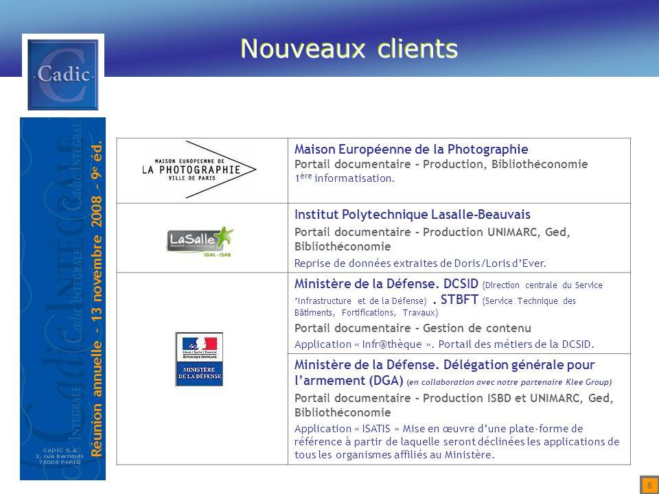Réunion annuelle – 13 novembre 2008 – 9 e éd. 9 Répartition par type de projet