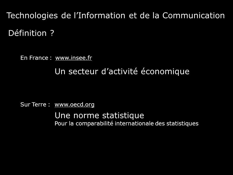Un secteur d'activité économique www.insee.fr Définition ? En France : Sur Terre : Une norme statistique Pour la comparabilité internationale des stat