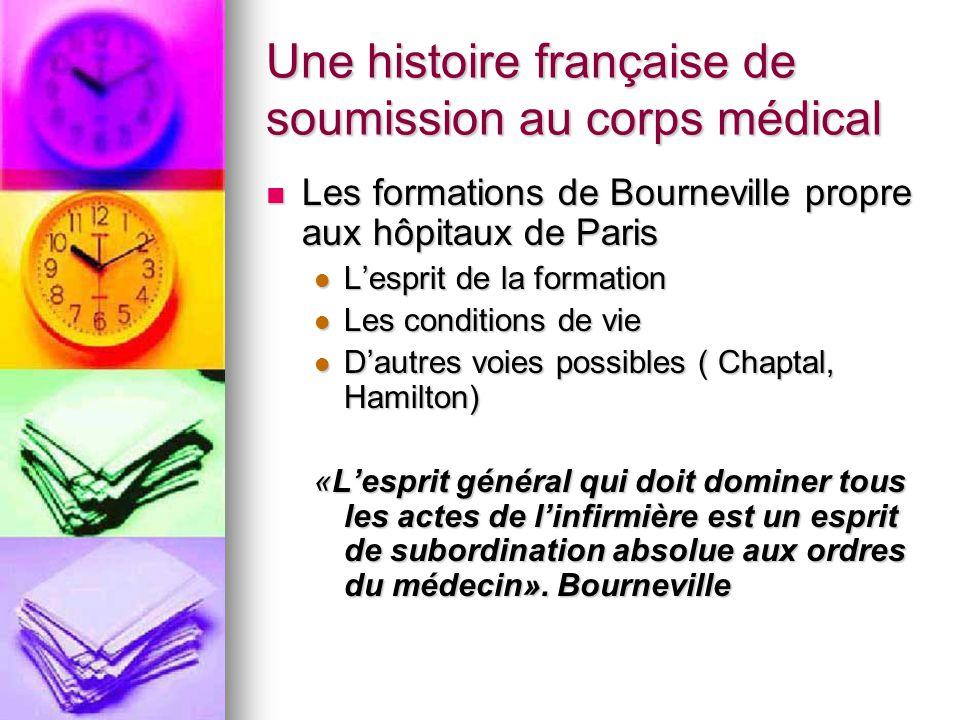 Une histoire française de soumission au corps médical Les formations de Bourneville propre aux hôpitaux de Paris Les formations de Bourneville propre