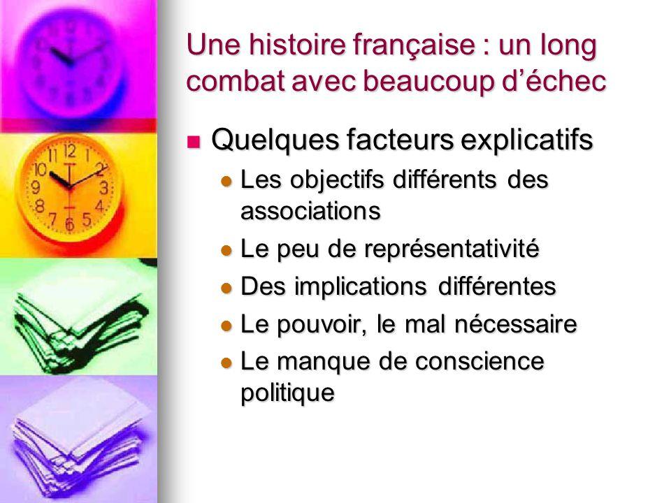Une histoire française : un long combat avec beaucoup d'échec Quelques facteurs explicatifs Quelques facteurs explicatifs Les objectifs différents des