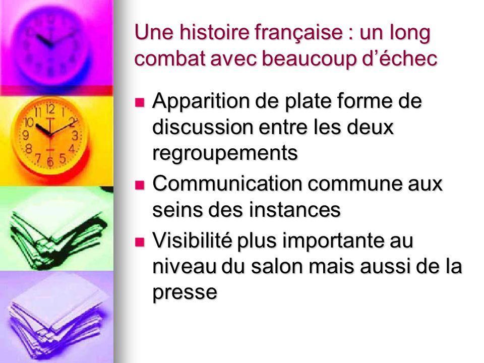 Une histoire française : un long combat avec beaucoup d'échec Apparition de plate forme de discussion entre les deux regroupements Apparition de plate