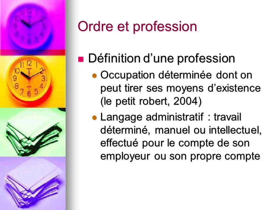 Ordre et profession Définition d'une profession Définition d'une profession Occupation déterminée dont on peut tirer ses moyens d'existence (le petit
