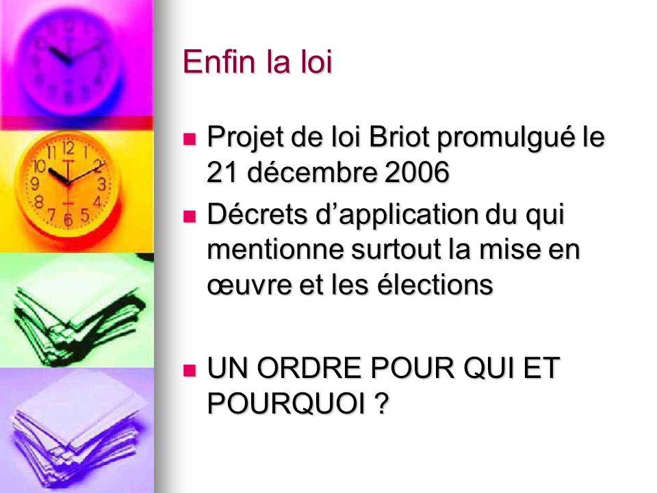 Enfin la loi Projet de loi Briot promulgué le 21 décembre 2006 Projet de loi Briot promulgué le 21 décembre 2006 Décrets d'application du qui mentionn