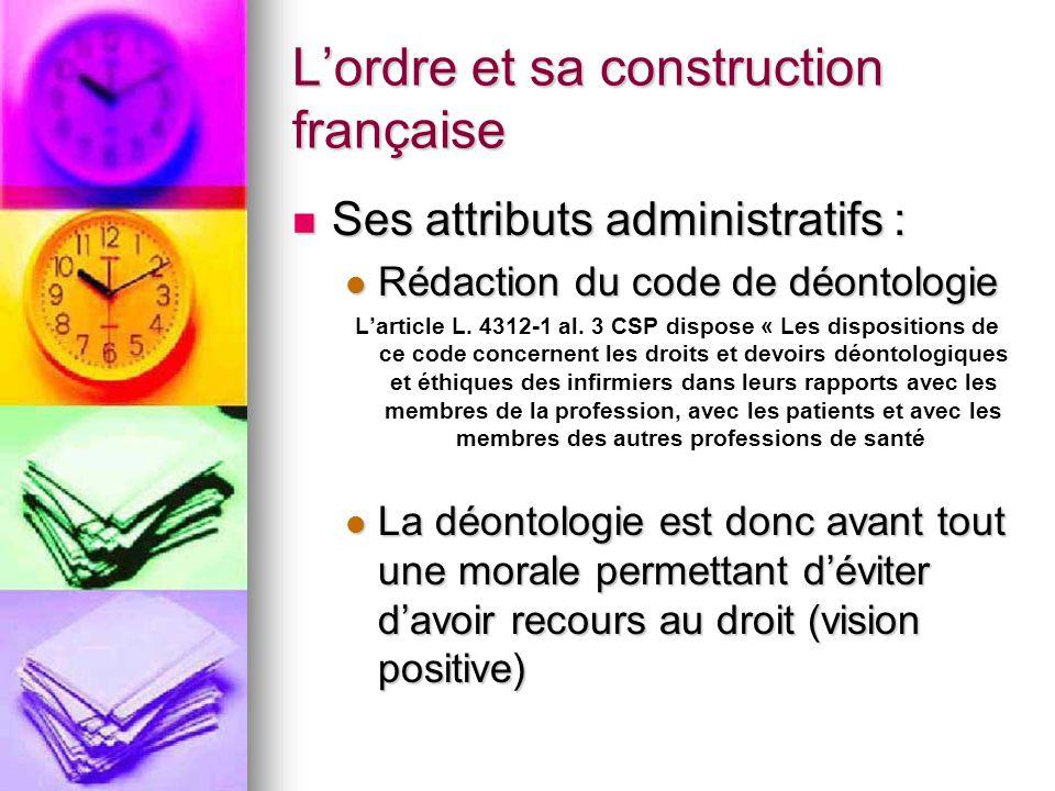 L'ordre et sa construction française Ses attributs administratifs : Ses attributs administratifs : Rédaction du code de déontologie Rédaction du code