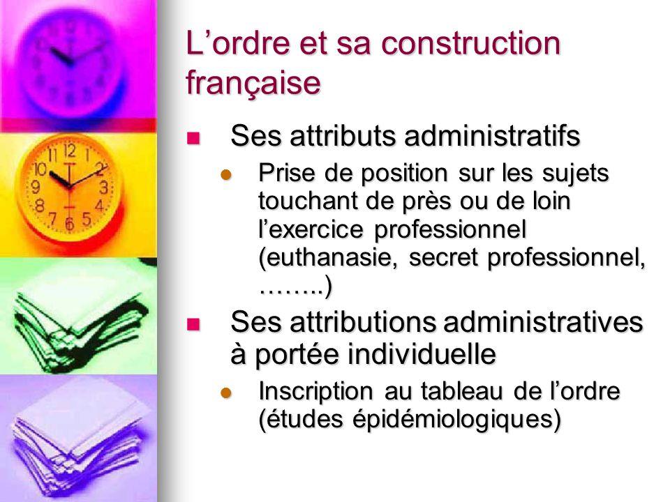 L'ordre et sa construction française Ses attributs administratifs Ses attributs administratifs Prise de position sur les sujets touchant de près ou de