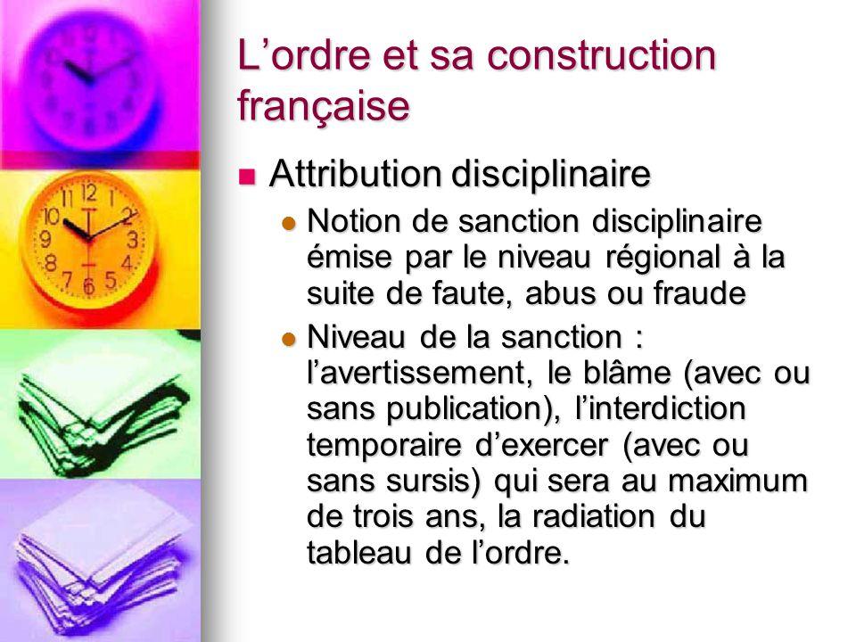 L'ordre et sa construction française Attribution disciplinaire Attribution disciplinaire Notion de sanction disciplinaire émise par le niveau régional