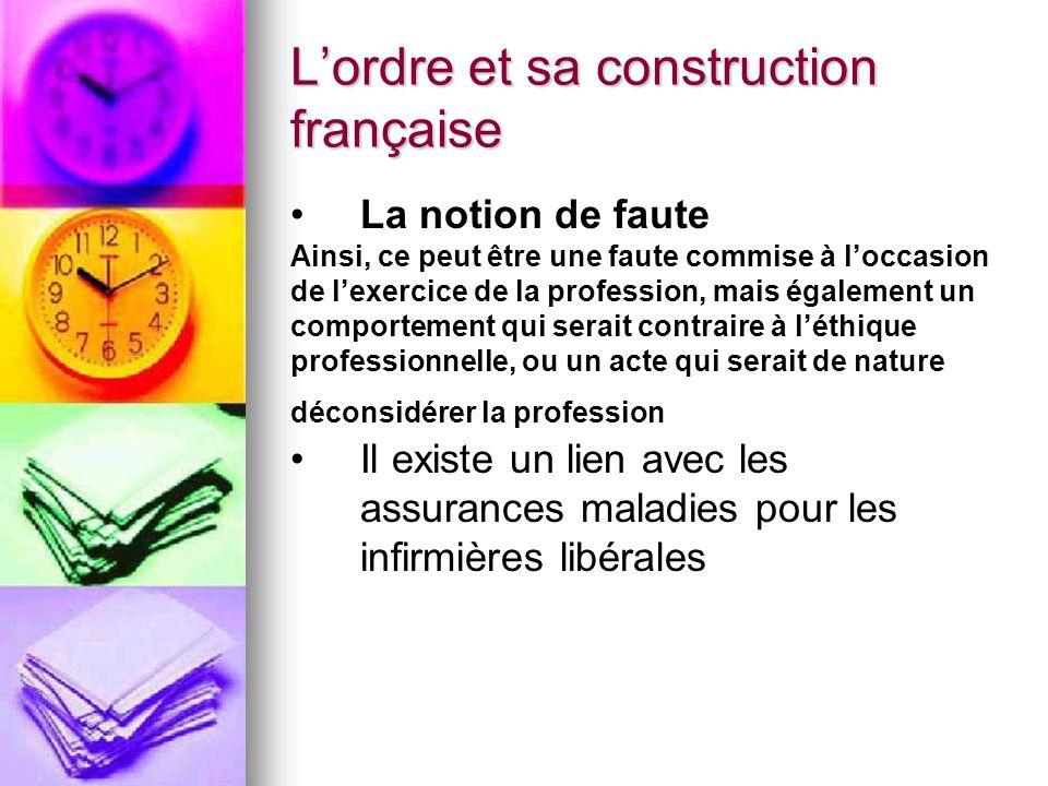 L'ordre et sa construction française La notion de faute Ainsi, ce peut être une faute commise à l'occasion de l'exercice de la profession, mais égalem