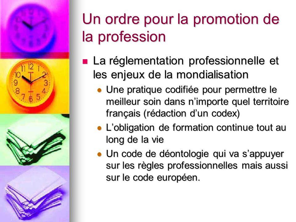 Un ordre pour la promotion de la profession La réglementation professionnelle et les enjeux de la mondialisation La réglementation professionnelle et