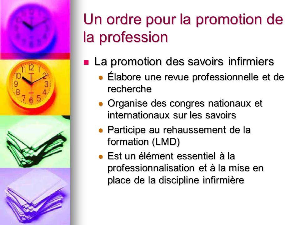 Un ordre pour la promotion de la profession La promotion des savoirs infirmiers La promotion des savoirs infirmiers Élabore une revue professionnelle