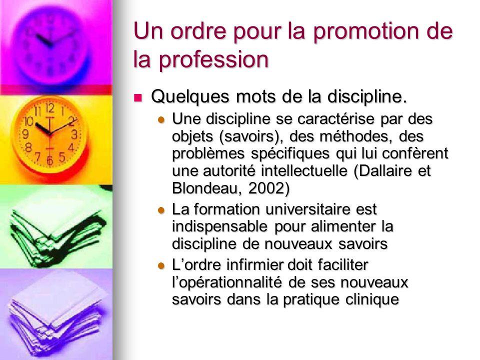 Un ordre pour la promotion de la profession Quelques mots de la discipline. Quelques mots de la discipline. Une discipline se caractérise par des obje